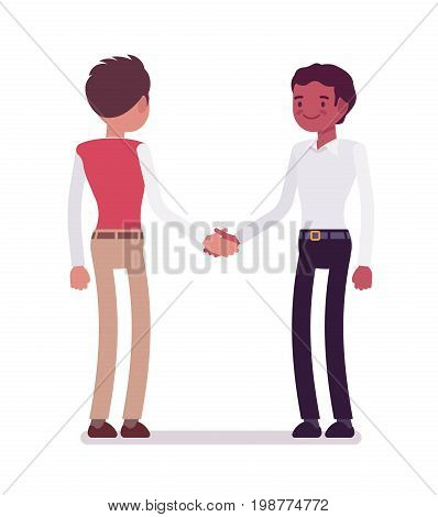 Male clerks handshaking. Company culture rules, encourage better production and positive workplace. Corporate behavior concept. Vector flat style cartoon illustration, isolated, white background