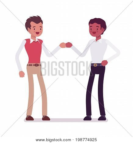 Male clerks fist bump. Friends starting a new client project, team work, positive impact on business. Corporate behavior concept. Vector flat style cartoon illustration, isolated, white background