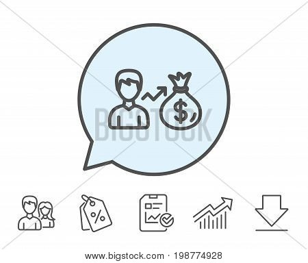 Businessman earnings line icon. Dollar money bag sign. Report, Sale Coupons and Chart line signs. Download, Group icons. Editable stroke. Vector