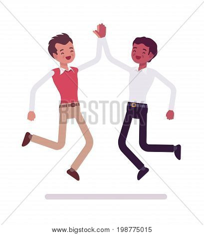 Male clerks giving jumping high five. Positive workplace, high daily performance, enthusiasm, happy employees. Corporate behavior. Vector flat style cartoon illustration, isolated, white background