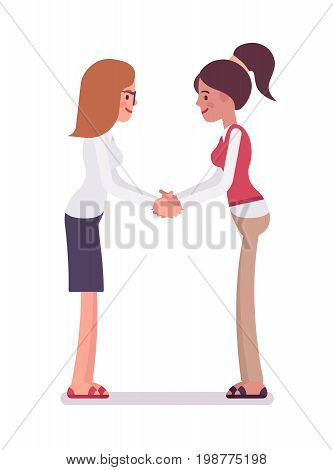 Female clerks handshaking with both hands. Working together on project, communicate ideas. Human relations in the workplace concept. Vector flat style cartoon illustration, isolated, white background