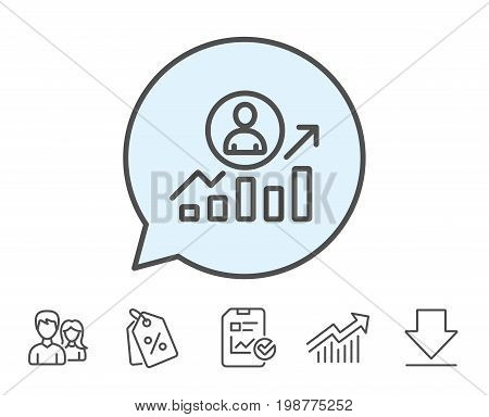 Business results line icon. Career Growth chart sign. Report, Sale Coupons and Chart line signs. Download, Group icons. Editable stroke. Vector