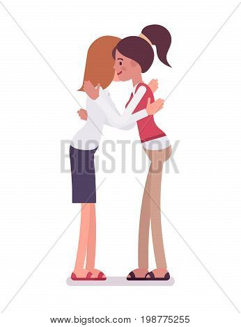Female clerks giving a hug. Recognizing an employee value to company, stress-management. Human relations in the workplace concept. Vector flat style cartoon illustration, isolated, white background