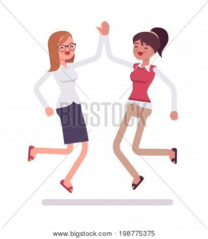 Female clerks giving jumping high five. Challenging task, company success celebrating. Human relations in the workplace concept. Vector flat style cartoon illustration, isolated, white background