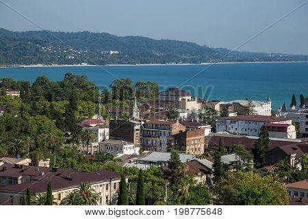 Day aerial cityscape of Sukhum downtown, Abkhazia in summer, Black sea coast