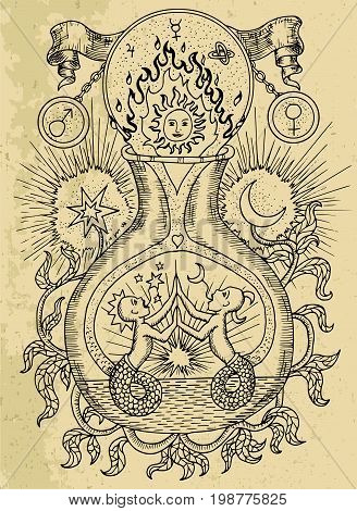 Mystic drawing with spiritual and alchemical symbols, zodiac sign Gemini with moon and sun on texture background. Occult and esoteric vector engraved illustration, tattoo gothic and wicca concept