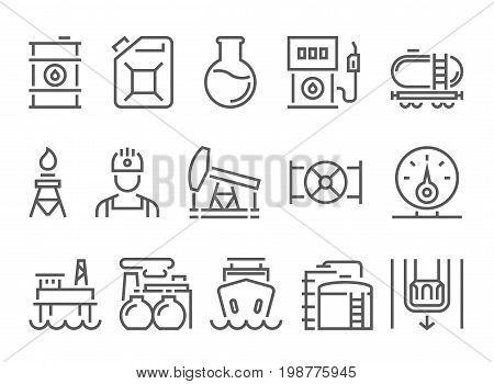 oil and petrol industry objects. icons set of heavy industry, mining resources, tanker and fuel, energy industry. linear pictogram pack. thin line, flat design.