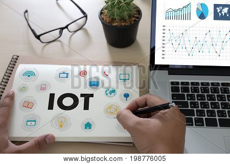 Iot Business Man Hand Working And Internet Of Things (iot) Word Diagram As Concept Use Browsing Inte