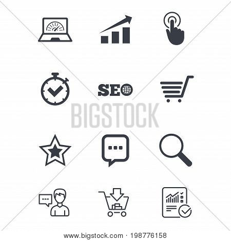 Internet, seo icons. Online shopping, charts and speed signs. Chat messages symbol. Customer service, Shopping cart and Report line signs. Online shopping and Statistics. Vector
