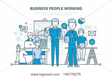 Business people working. Working group, meeting colleagues, partners, teamwork and cooperation, collaboration, association, workplace. Illustration thin line design of vector doodles