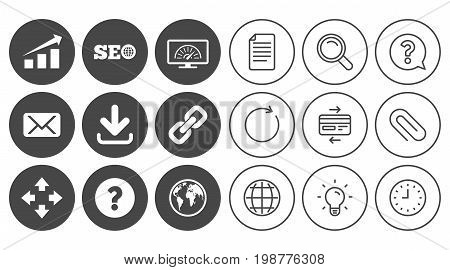 Internet, seo icons. Bandwidth speed, download arrow and mail signs. Hyperlink, monitoring symbols. Document, Globe and Clock line signs. Lamp, Magnifier and Paper clip icons. Vector