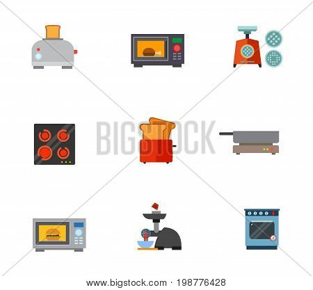 Kitchen appliances icon set. Toaster With Bread Slice Microwave Oven Mincing Machine Electric Cooker Frying Pan On Cooker Electric Meat Grinder Cooker With Oven