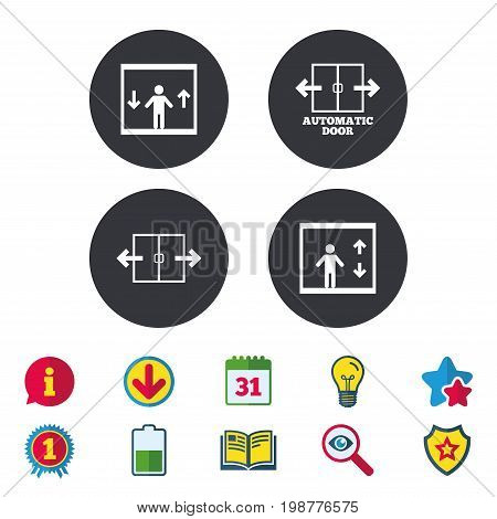 Automatic door icons. Elevator symbols. Auto open. Person symbol with up and down arrows. Calendar, Information and Download signs. Stars, Award and Book icons. Light bulb, Shield and Search. Vector