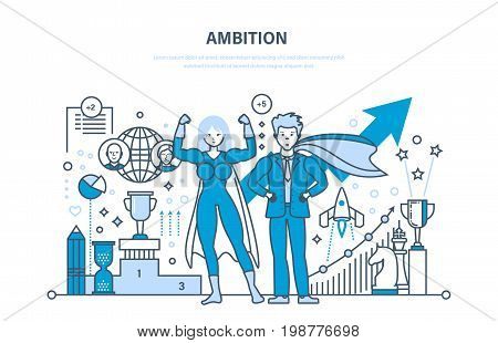 Ambition, success in work, achievement, growth on the work and education, leadership, communication, control and management, start-up. Illustration thin line design of vector doodles.