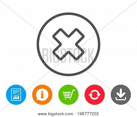 Delete line icon. Remove sign. Cancel or Close symbol. Report, Information and Refresh line signs. Shopping cart and Download icons. Editable stroke. Vector