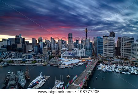 SYDNEY AUSTRALIA - August 7 2017 : Sunrise of Darling Harbour adjacent to the city center of Sydney and also a recreational place in Sydney central business district