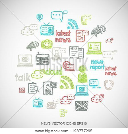 Multicolor doodles flat Hand Drawn News Icons set In A Circle on White background. EPS10 vector illustration.