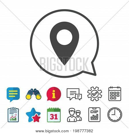 Map pointer icon. GPS location symbol. Information, Report and Calendar signs. Group, Service and Chat line icons. Vector