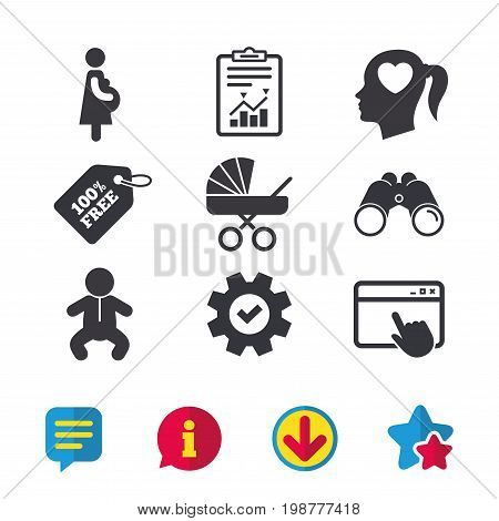 Maternity icons. Baby infant, pregnancy and buggy signs. Baby carriage pram stroller symbols. Head with heart. Browser window, Report and Service signs. Binoculars, Information and Download icons