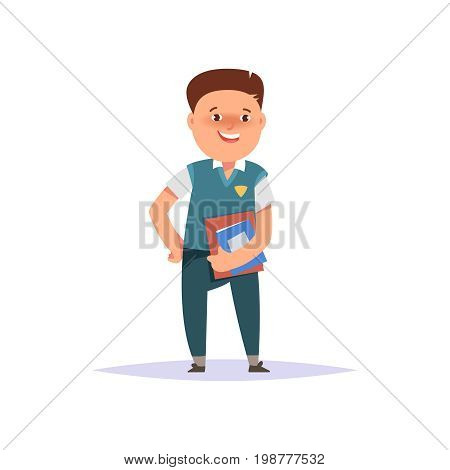 Vector illustration icon elementary school boy colorful clothes with textbook and backpack isolated white background. Cartoon style