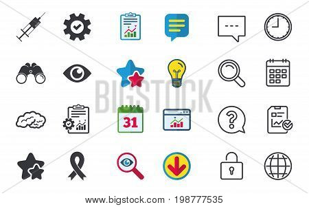 Medicine icons. Syringe, eye, brain and ribbon signs. Breast cancer awareness symbol. Human intelligent smart mind. Chat, Report and Calendar signs. Stars, Statistics and Download icons. Vector