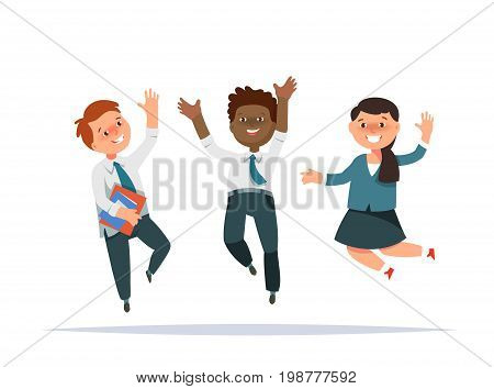 Vector illustration happy group elementary school boy and girl jumping isolated cartoon style. The design concept back to school