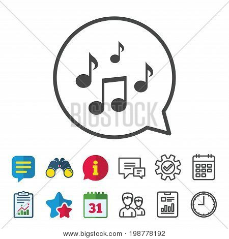 Music notes sign icon. Musical symbol. Information, Report and Calendar signs. Group, Service and Chat line icons. Vector