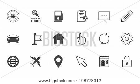 Navigation, gps icons. Windrose, compass and map pointer signs. Car, airplane and flag symbols. Chat, Report and Calendar line signs. Service, Pencil and Locker icons. Click, Rotation and Cursor