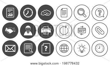 Office, documents and business icons. Deal, mail and businessman signs. Report, magnifier and brain symbols. Document, Globe and Clock line signs. Lamp, Magnifier and Paper clip icons. Vector