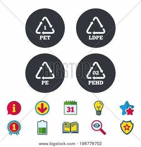 PET, Ld-pe and Hd-pe icons. High-density Polyethylene terephthalate sign. Recycling symbol. Calendar, Information and Download signs. Stars, Award and Book icons. Light bulb, Shield and Search. Vector