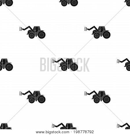 Combine with long hydraulic legs to capture the hay.Agricultural Machinery single icon in black style vector symbol stock web illustration.