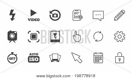 Photo, video icons. Camera, photos and frame signs. Flash, timer and macro symbols. Chat, Report and Calendar line signs. Service, Pencil and Locker icons. Click, Rotation and Cursor. Vector