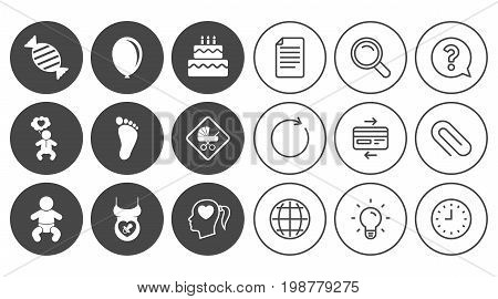 Pregnancy, maternity and baby care icons. Candy, strollers and pacifier signs. Footprint, birthday cake and heart symbols. Document, Globe and Clock line signs. Lamp, Magnifier and Paper clip icons