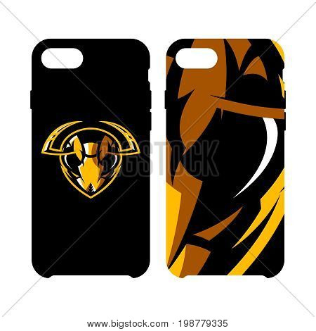 Furious hornet head athletic club vector logo concept isolated on smart phone case. Modern sport team mascot badge design. Premium quality wild insect emblem cell phone cover illustration.