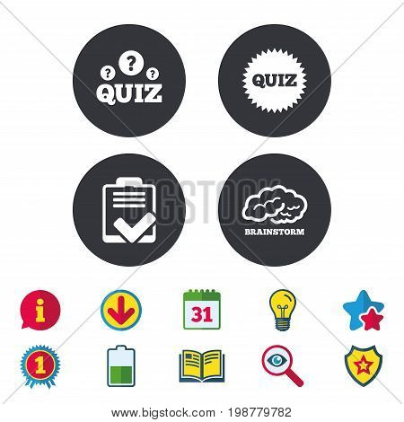 Quiz icons. Brainstorm or human think. Checklist symbol. Survey poll or questionnaire feedback form. Questions and answers game sign. Calendar, Information and Download signs. Vector