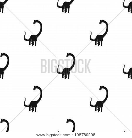 Cute Monster kids logo monster .A green dinosaur in an amusement park. Jurassic Park.Amusement park single icon in black style vector symbol stock web illustration.