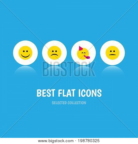 Flat Icon Face Set Of Party Time Emoticon, Displeased, Sad And Other Vector Objects