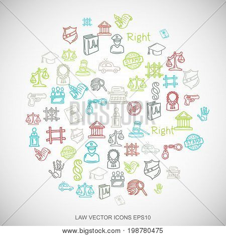 Multicolor doodles flat Hand Drawn Law Icons set In A Circle on White background. EPS10 vector illustration.