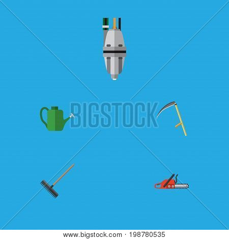 Flat Icon Dacha Set Of Harrow, Hacksaw, Cutter And Other Vector Objects