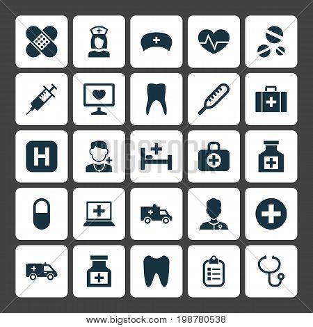 Medicine Icons Set. Collection Of Mark, Pellet, Beating And Other Elements