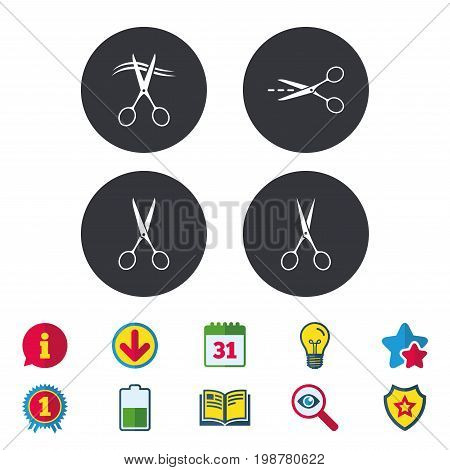 Scissors icons. Hairdresser or barbershop symbol. Scissors cut hair. Cut dash dotted line. Tailor symbol. Calendar, Information and Download signs. Stars, Award and Book icons. Vector