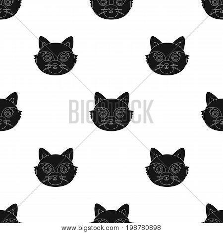 Fox muzzle icon in black design isolated on white background. Animal muzzle symbol stock vector illustration.