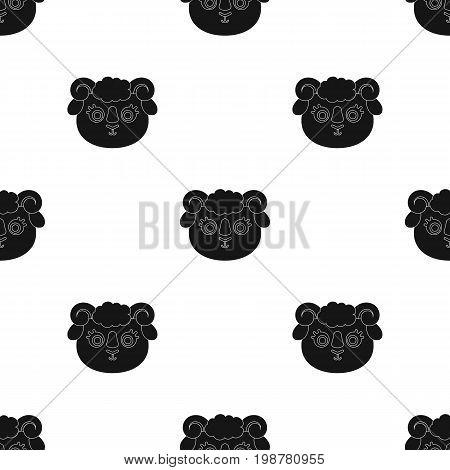 Ram muzzle icon in black design isolated on white background. Animal muzzle symbol stock vector illustration.