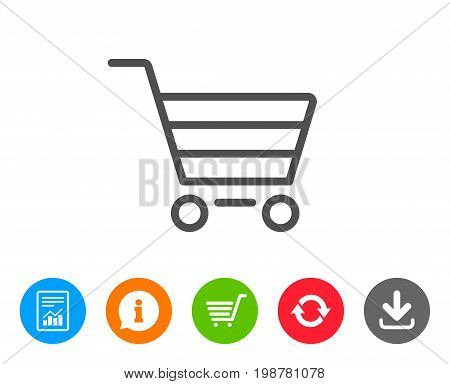 Shopping cart line icon. Online buying sign. Supermarket basket symbol. Report, Information and Refresh line signs. Shopping cart and Download icons. Editable stroke. Vector