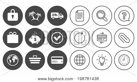 Online shopping, e-commerce and business icons. Credit card, gift box and protection signs. Piggy bank, delivery and tick symbols. Document, Globe and Clock line signs. Vector