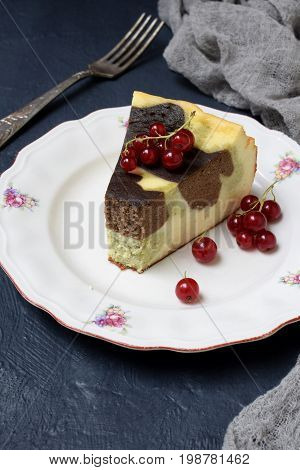Homemade Marble Cheesecake With Cream Cheese, Chocolate And Tea Matcha On A Dark Background. Copy Sp