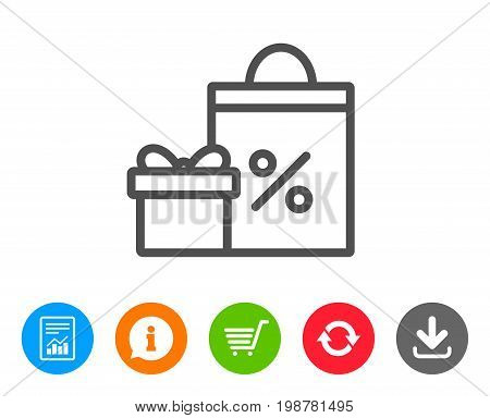 Gift box with Shopping bag line icon. Present or Sale sign. Birthday Shopping with Discounts symbol. Package in Gift Wrap. Report, Information and Refresh line signs. Shopping cart and Download icons