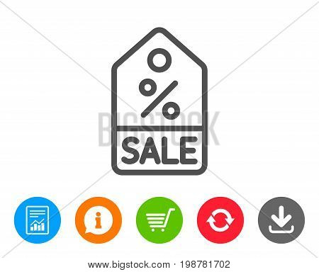 Shopping tag line icon. Sale Special offer sign. Discount coupon symbol. Report, Information and Refresh line signs. Shopping cart and Download icons. Editable stroke. Vector