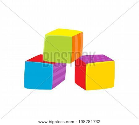 Vector cubes toy flat illustration. Child cubic bricks, colored blocks isolated on a white background. Children education, growth and development concept. Wooden, plastic cubic boxes stack.