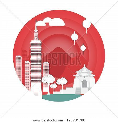 Temple and tower in taiwan. Attractions .Vector illustration. Paper cut style on a white background